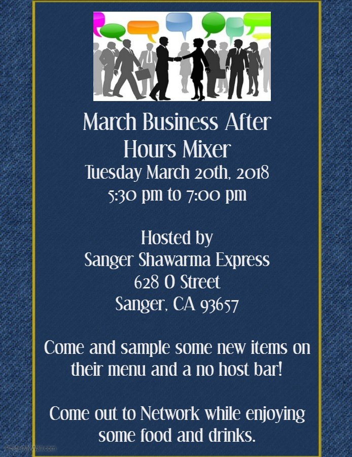March Business After Hours Mixer Sanger Chamber Of Commerce